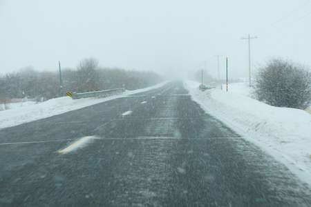 snowstorm: Snowstorm on highway near Yampa,  Colorado Stock Photo