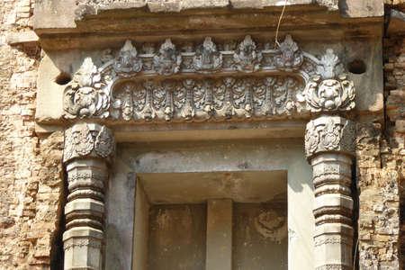 lintel: Detail of carved ornamental door of Hindu  temple,Sambor Pre Kuk, Kampong Thom,  Cambodia