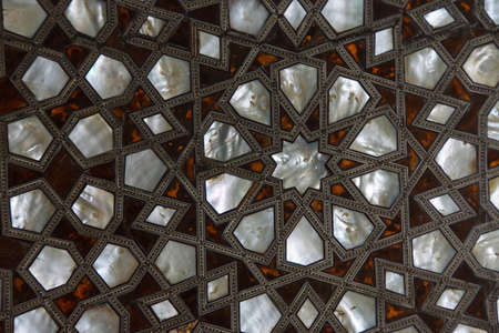 marqueteria: Door with mother of pearl inlays  in the Harem  in Topkapi Palace,  in Istanbul, Turkey