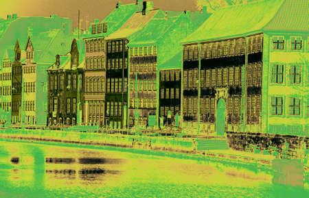 autos: Fa?ade of old buildings along a canal,  Copenhagen, Denmark