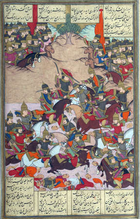 sh: Turkish troops attack the forces of B�zhan.Calligrapher Darv�sh Abd�, 1026