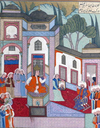 recognizes: Qaydafah, queen of Andalus, recognizes Iskandar, who has come to her court disguised as his own ambassador
