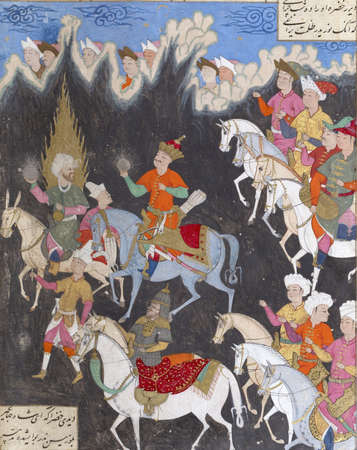 gloom: Iskandar and Khizr (on a mule), both holding shining globes that light their way through the gloom, ride towards the Fountain of Life, Persian miniature from the Shahnamah