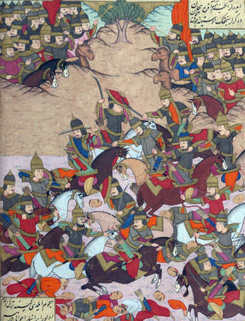 Turkish troops attack the forces of Bîzhan.Calligrapher Darvîsh Abdî, 1026