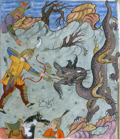 Bahrâm Gûr kills a dragon, Persian miniature from the Shahnamah