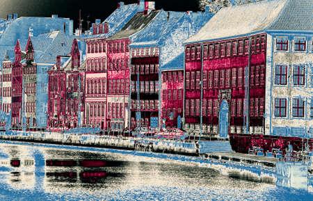 faade: Fa?ade of old buildings along a canal,  Copenhagen, Denmark