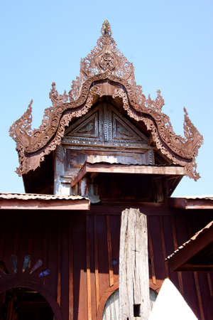 intricate: Intricate wooden carving of the Shwe Yan Pyay monastery, near  Inle Lake,  Myanmar (Burma)