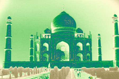 minarets: Taj Mahal, classic view of minarets & relecting pool.Agra India