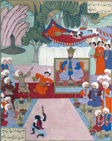 Iskandar relaxing in his camp, Persian miniature from the Shahnamah Redakční