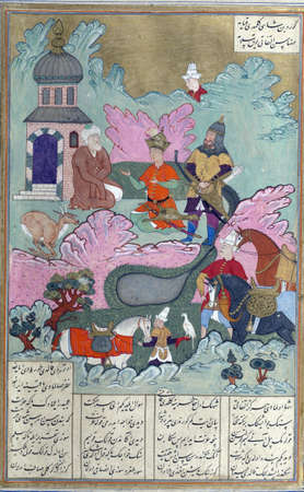 Iskandar talks with the prophet Khizr about his quest for the Fountain of Life., Persian miniature from the Shahnamah