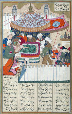 Iskandar lies dying, Persian miniature from the Shahnamah Redakční