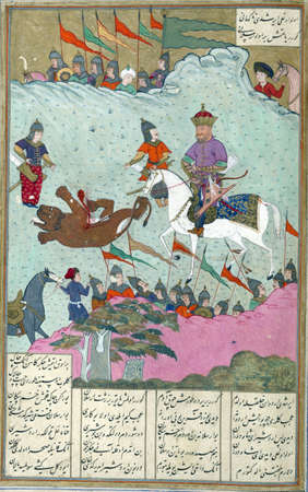 Ardashir and King Ardavan dispute the hunts spoils, Persian miniature from the Shahnamah
