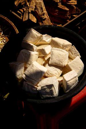 Fresh tofu at the  weekly wholesale market,  Aung Ban,  Myanmar (Burma) 版權商用圖片