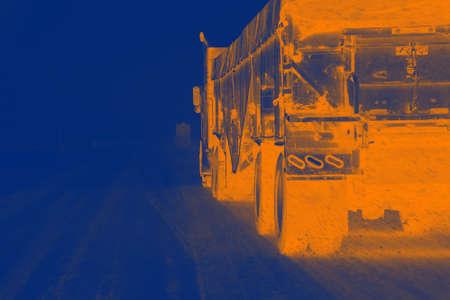 oregon  snow: Truck in snow storm near La Grande, Oregon