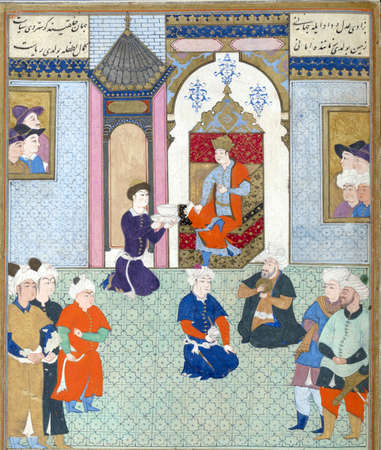 enthroned: Ardashir enthroned., Persian miniature from the Shahnamah