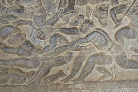 bas relief: Langka battle, carved  bas relief based on Hindu myth Ramayana, Angkor Wat,  Cambodia