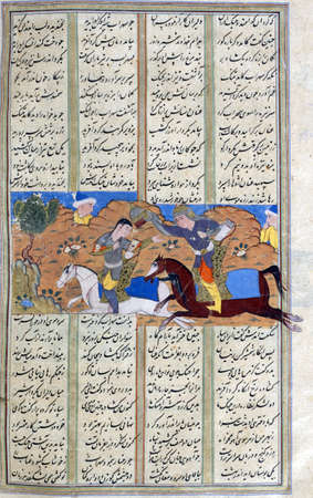 Suhrâb removes Gurdâfrîds helmet and discovers his adversary is a woman., Persian miniature from the Shahnamah, Book of Kings