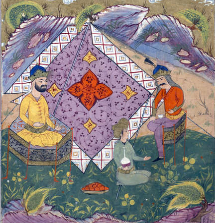 Iskandar visits with King Dara (Darius) in a garden, Persian miniature from the Shahnamah