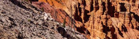 Panorama, fantasticly eroded red Navajo sandstone pinnacles and cliffs Cedar Breaks National Monument, Utah