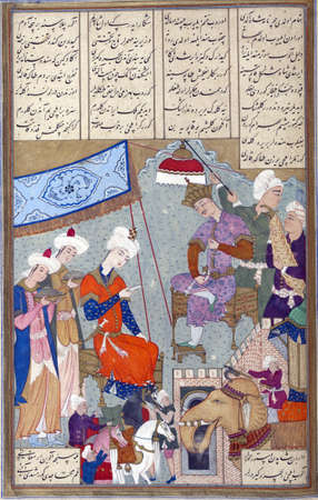 Bahram Gur disguised as his own ambassador gives a letter to Shangal, king of Hind (India)., Persian miniature from the Shahnamah