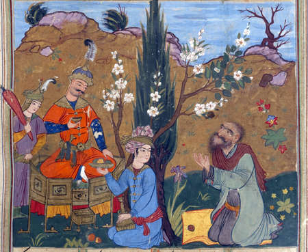 enthroned: Gushtasb enthroned in a garden, Persian miniature from the Shahnamah