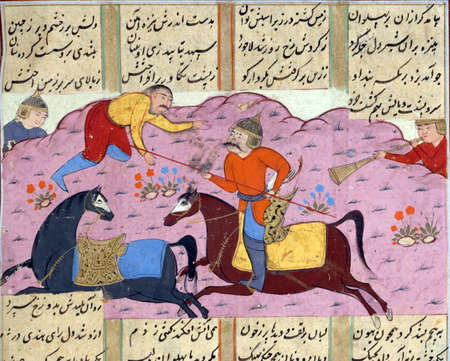 episode: A second episode in the battle between the armies of Faramarz and Mihark, Persian miniature from the Shahnamah Editorial