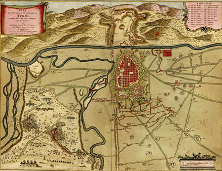 Antique map of Turin, Italy  from the Atlas of fortifications and battles, by Anna Beek and Gaspar Baillieu  Originally published in 17th century.