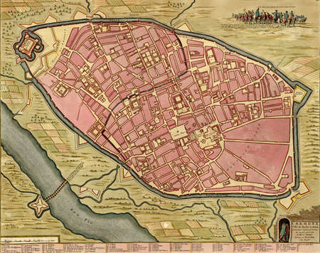 gaspar: Antique map of Cremona, Italy. Atlas of fortifications and battles, by Anna Beek and Gaspar Baillieu  Originally published in 17th century. Editorial