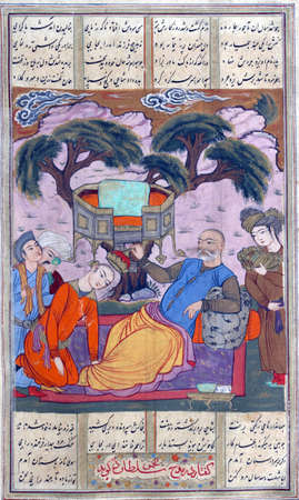 successor: The dying Bahram places a crown on the head of his successor Shapur, Persian miniature from the Shahnamah