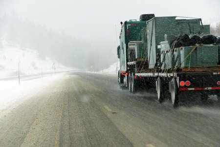 grande: Truck in snow storm near La Grande, Oregon