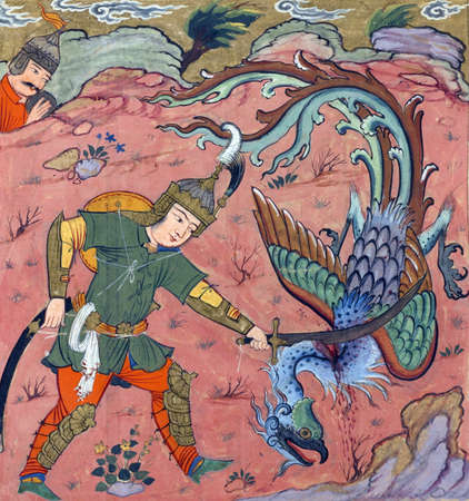 Isfandiyars Fifth Exploit: he kills the simurgh, Persian miniature from the Shahnamah