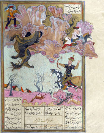 Bahram Gur kills a dragon that devoured a youth., Persian miniature from the Shahnamah