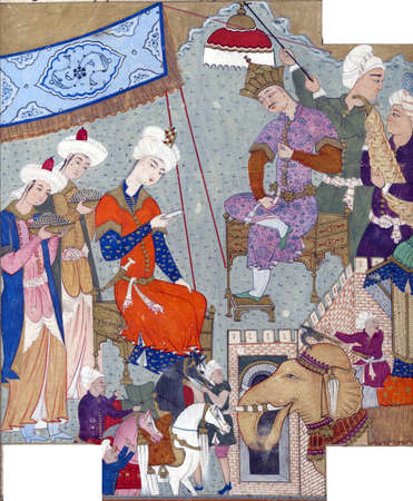 ambassador: Bahram Gur disguised as his own ambassador gives a letter to Shangal, king of Hind (India)., Persian miniature from the Shahnamah