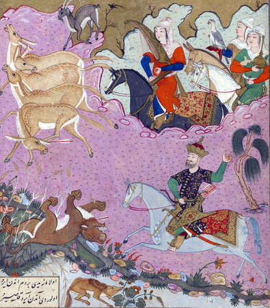 Bahram Gur hunting, accompanied by his slave girl Azadah., Persian miniature from the Shahnamah Redakční