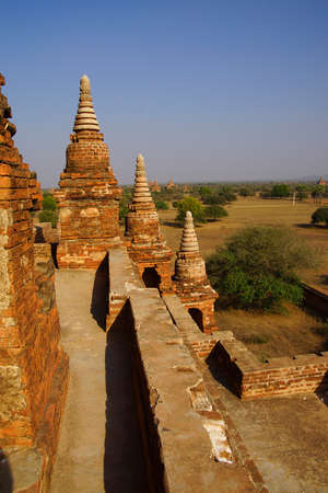 stupas: Brick stupas and temple decoration in Bagan Myanmar (Burma)