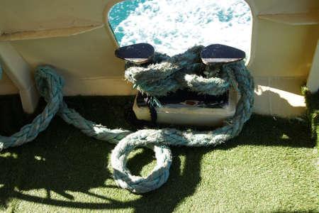 bulkhead: Rope tied off on a ferry bulkhead,  in Istanbul, Turkey