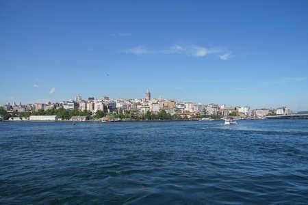 이스탄불, 터키 갈라 타 타워와 Karakoy 지구 스카이 라인