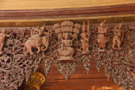 elaborate: Elaborate wood carvings on arch of a temple at the Shwedagon Pagoda,  Yangon (Rangoon),  Myanmar (Burma)