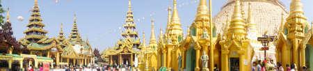 planetary: YANGON, MYANMAR - FEB 19, 2015 - Pagodas and Planetary stations on the platfiorm of Shwedagon Pagoda in Yangon,  Myanmar (Burma)