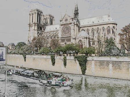 notre dame cathedral: Notre Dame Cathedral with blue autumn sky, Paris, France Stock Photo