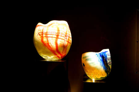 blown: SEATTLE - JUL 23, 2015 - Blown glass inspired by Native American woven baskets,  Chihuly Garden and Glass Museum,  Seattle, Washington