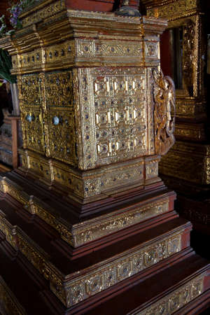 yan: Intricate wooden carving and decoration of the Shwe Yan Pyay monastery, near  Inle Lake,  Myanmar (Burma)