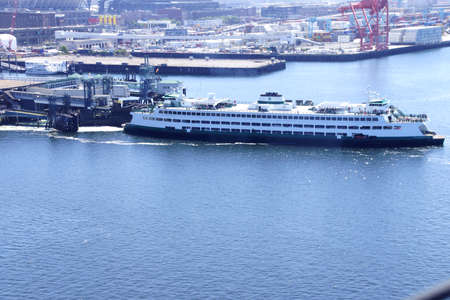 puget: Washington State ferry leaving Seattle to enter Puget Sound ,  Seattle, Washington