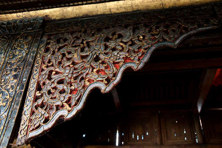 intricate: Intricate wooden carving and decoration of the Shwe Yan Pyay monastery, near  Inle Lake,  Myanmar (Burma)
