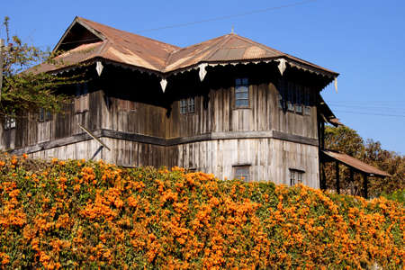 hillside: Mountain house on a hillside,  Kalaw,  Myanmar (Burma) Editorial