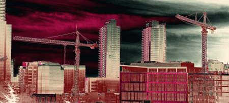 Hochhaus Baukräne in der Innenstadt von Seattle, Washington Standard-Bild - 53723968