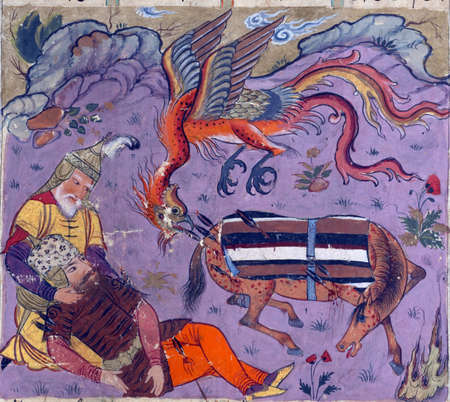 The simurgh aids the wounded Rustam and Rakhsh, Persian miniature from the Shahnamah