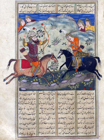 Rustam shoots Isfandiyar in the eyes with a double-pointed arrow, Persian miniature from the Shahnamah