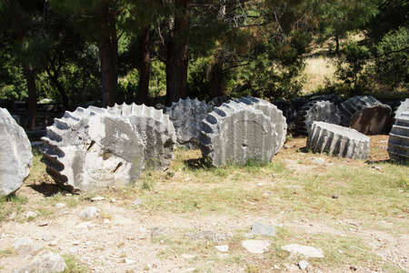 await: Broken columns await restoration in ancient Priene,  Turkey