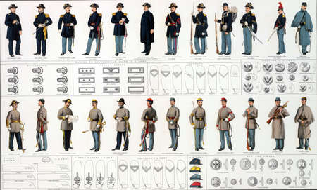 reb: Uniforms and badges of Union and Confederate infantry, artillery and cavalry officers and men  from Atlas to Accompany the Official Records of the Union & Confederate Armies, 1861 - 1865 Stock Photo